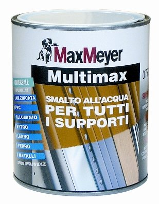 "Multimax  0,75 LT. Smalto all'acqa  ""Superaderente"" per tutti i supporti  Max-Meyer"